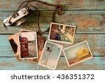 retro technology instant photo... | Shutterstock . vector #436351372