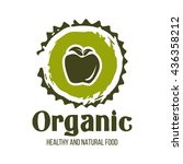 healthy food logo isolated on... | Shutterstock .eps vector #436358212