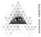 blackwork tattoo flash. eye of... | Shutterstock .eps vector #436367542