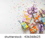 small gifts are packed in... | Shutterstock . vector #436368625