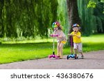 children learn to ride scooter... | Shutterstock . vector #436380676