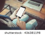 girl using smartphone in cafe.... | Shutterstock . vector #436381198