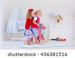 two children play indoors. kids ... | Shutterstock . vector #436381516