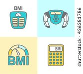 bmi or body mass index icons | Shutterstock .eps vector #436381786