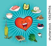 Ten Best Foods for the Heart. A healthy cartoon heart surrounded by the best ten foods for preventing heart diseases. This foods are full of omega-3 fatty acids,  antioxidants, fiber, etc. - stock vector