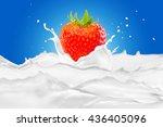 strawberry with milk splash on... | Shutterstock . vector #436405096