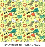 hand drawn summer time theme... | Shutterstock .eps vector #436427632