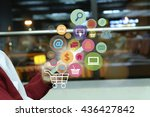 shopping cart with application... | Shutterstock . vector #436427842