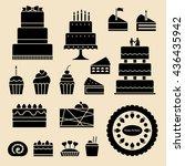 vector cakes   cupcakes  | Shutterstock .eps vector #436435942
