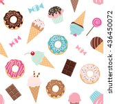 birthday seamless pattern with... | Shutterstock .eps vector #436450072