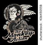 poster with portrait of monkey... | Shutterstock .eps vector #436450558