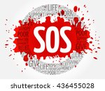 sos word cloud collage  concept ... | Shutterstock .eps vector #436455028