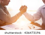 business  two businessmen arm... | Shutterstock . vector #436473196