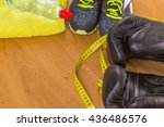 boxing gloves  a towel and... | Shutterstock . vector #436486576