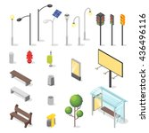 vector set of isometric city... | Shutterstock .eps vector #436496116
