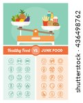 healthy and unhealthy diets... | Shutterstock .eps vector #436498762
