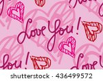 hand drawn heart with love you. ... | Shutterstock .eps vector #436499572