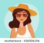 summer girl eating a ice cream. ... | Shutterstock .eps vector #436506196
