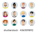 set of diverse round avatars... | Shutterstock . vector #436509892