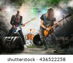 Rock Band Performs Stage Guitarist - Fine Art prints