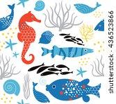 seamless pattern sea life | Shutterstock .eps vector #436523866