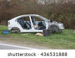 front part of a crashed car... | Shutterstock . vector #436531888