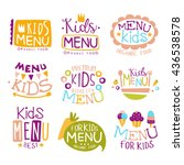 kids organic food hand drawn... | Shutterstock .eps vector #436538578