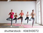 group of women doing yoga in a... | Shutterstock . vector #436543072