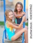 portrait of two girls of... | Shutterstock . vector #436553962