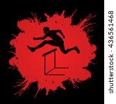hurdler hurdling designed on... | Shutterstock .eps vector #436561468