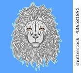 wild lion head graphic... | Shutterstock .eps vector #436581892