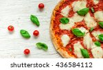 delicious italian pizza served... | Shutterstock . vector #436584112