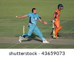 BLOEMFONTEIN, SOUTH AFRICA - DECEMBER 22: Action during a one-day cricket match between the Eagles and Titans (Titans won by four wickets) December 22, 2009 in Bloemfontein, South Africa. - stock photo