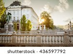 triple bridge in the old town... | Shutterstock . vector #436597792