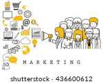 marketing team on white... | Shutterstock .eps vector #436600612