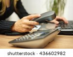 businesswoman working on laptop ... | Shutterstock . vector #436602982