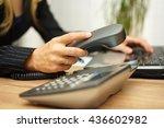 businesswoman working on laptop ...   Shutterstock . vector #436602982