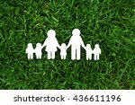 wooden family shape. love and... | Shutterstock . vector #436611196