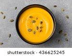 pumpkin cream soup with pumpkin ... | Shutterstock . vector #436625245