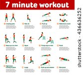 7 minute workout. fitness ... | Shutterstock . vector #436636252