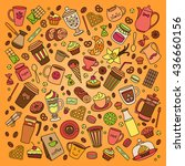 coffee vector set. line. many... | Shutterstock .eps vector #436660156