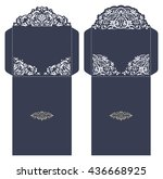 set of 2 wedding invitation... | Shutterstock .eps vector #436668925