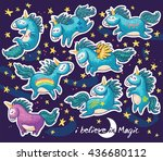 sticker set of cute cartoon... | Shutterstock .eps vector #436680112