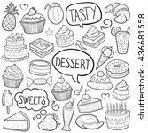 desserts sweets doodle icons... | Shutterstock .eps vector #436681558