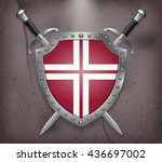 two crossed swords that are... | Shutterstock .eps vector #436697002