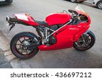 Small photo of Helsinki, Finland - May 21, 2016: Ducati 749, it is a V-twin Desmodromic valve actuated engine sport bike by Ducati Motor Holding between 2003 and 2006. Designed by Pierre Terblanche
