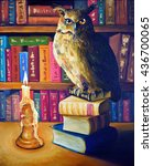 Owl In An Old Library. Oil...