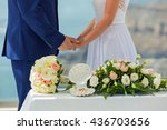 the young couple and flowers... | Shutterstock . vector #436703656