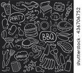 blackboard bbq barbecue day... | Shutterstock .eps vector #436706752