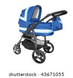Blue Baby Stroller Isolated On...
